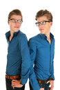 Adult male twins identically in studio Stock Image