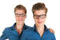 Adult male twins identically in studio Stock Photos