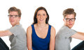 Adult male twins and young girl identically with in studio Stock Photo