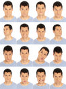 Adult man face expressions composite isolated on w Stock Photos