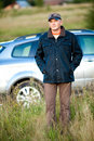 Adult man and his car Royalty Free Stock Photography