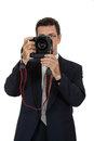 Adult man photographer with digital camera dslr isolated on white Royalty Free Stock Photography