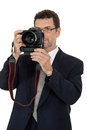 Adult man photographer with digital camera dslr isolated on white Royalty Free Stock Photos
