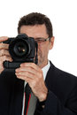 Adult man photographer with digital camera dslr isolated on white Stock Photo