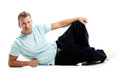 Adult man with a shirt posing in studio grown Royalty Free Stock Image