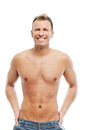 Adult man without shirt posing in studio grown Royalty Free Stock Photo