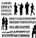 Adult people silhouettes collection loosely traced in many different situations and poses for design Stock Photography