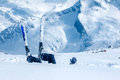Adult skier lying in deep snow at the ski resort Royalty Free Stock Image