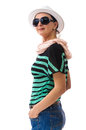 Adult smiling woman with white hat pretty and black sunglasses studio shoot isolated on background Stock Photo