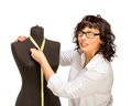 Adult tailor with mannequin isolated on white Royalty Free Stock Images