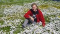 Adult white male wearing a red jacket seated in a field of daisies Royalty Free Stock Photo