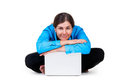 Adult woman with laptop computer Royalty Free Stock Image