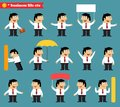 Adult at work emotional poses and situations set business life vector illustration Royalty Free Stock Photos
