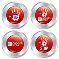 Adults only button set vector age limit stickers red round realistic metallic icons with gradient isolated Royalty Free Stock Photo