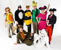 Adults in colorful costumes Stock Images