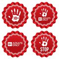 Adults only content labels age limit stickers stars vector red round realistic icons set isolated Stock Photos
