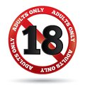 Adults only content sign vector age limit icon sticker prohibition under eighteen isolated on white eps Royalty Free Stock Image