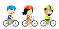 Adults riding bicycles illustration of a group of people bikes Royalty Free Stock Photos