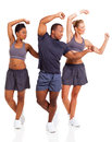 Adults working out cheerful young over white background Stock Photo