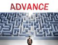 Advance can be hard to get - pictured as a word Advance and a maze to symbolize that there is a long and difficult path to achieve Royalty Free Stock Photo