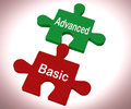 Advanced basic puzzle means programme features and costs meaning Royalty Free Stock Image
