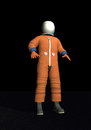 Advanced crew escape space suit d render orange standing in black background elements of this image furnished by nasa Royalty Free Stock Photos