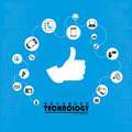 Advanced technology over blue background vector illustration Royalty Free Stock Photos