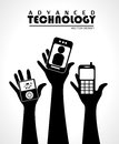 Advanced technology over gray background vector illustration Stock Photos