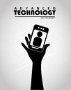 Advanced technology over gray background vector illustration Stock Photo