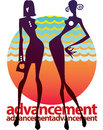 Advancement two successful women stand on the sunset background Royalty Free Stock Image