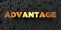 Advantage - Gold text on black background - 3D rendered royalty free stock picture Royalty Free Stock Photo