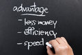 Advantage hand writing a competitive of business concept with chalk Stock Image