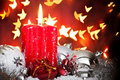 Advent background with candle and baubles Royalty Free Stock Photos