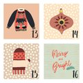 Advent calendar with hand drawn vector Christmas holiday illustrations for December 13th - 16th. Christmas sweater, mitten, Royalty Free Stock Photo