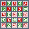 Advent calendar. Postage stamps stickers with numbers Royalty Free Stock Photo