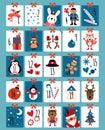 Advent calendar. Winter christmas numbers, cute surprising cards. Xmas present with animal, santa claus snowflakes Royalty Free Stock Photo