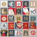 Advent calendar. Winter holiday poster, december dates festive events with xmas characters, santa, deer and bear in Royalty Free Stock Photo