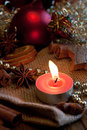 Advent candle with christmas deco Stock Photos
