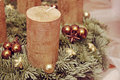 Advent candle closeup on golden Royalty Free Stock Photos