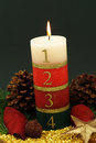 Advent candle large with numbers for the last four weeks before christmas Royalty Free Stock Images