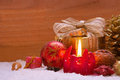 Advent candle red christmas and christmas decoration Stock Photo