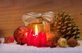 Advent candle red christmas and christmas decoration Stock Photography