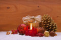 Advent candle red christmas and christmas decoration Royalty Free Stock Photo