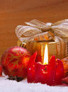 Advent candle red christmas and christmas decoration Royalty Free Stock Images