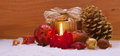 Advent candle red christmas and christmas decoration Stock Image