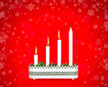 Advent candlestick with three burning candles third sunday of on red background snowflakes Royalty Free Stock Photo