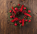Advent christmas wreath decoration on wooden door Royalty Free Stock Photo