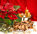 Advent decoration red flower and christmas cookies festive with burning golden candles poinsettia gingerbread Royalty Free Stock Image