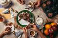 Advent time tea party with homemade muffins Royalty Free Stock Photo
