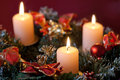 Advent wreath with burning candles for christmas time Royalty Free Stock Photography